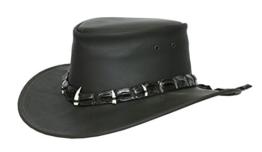 Lederhut in schwarz und braun mit echtem Krokodilleder- Hutband und Zähnen von Kakadu Australia, 2.Wahl -