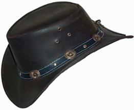 Lederhut - Klassischer Westernhut, Cowboyhut, Braun, Größe L -