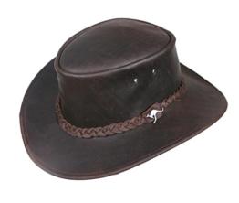 Lederhut mit geflochtenem Hutband in braun und beige, echter Outback-er Hut von Kakadu Australia 2.Wahl -