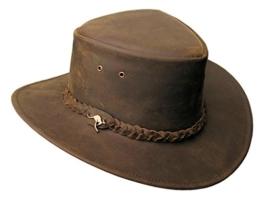 Lederhut Nullabor in braun und beige mit geflochtenem Hutband 2.Wahl -