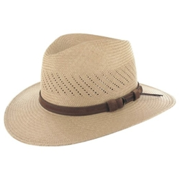 Lierys Air Panamastrohhut für Herren Strohhut Traveller mit Lederband, mit Lederband Frühjahr Sommer (L/59-60 - braun) -