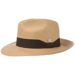 Lierys Classic Fedora Panamahut Hut Strohhut Panamastrohhut Sommerhut Sonnenhut Bogarthut für Damen Herren Panamahut Herrenhut Frühjahr Sommer (M/57-58 - camel) -