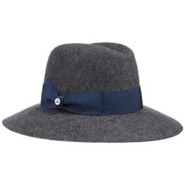 Lierys Damenflapper Melange Wollfilzhut Damenhut für Damen Damenhut Schlapphut mit Ripsband Winter Sommer (One Size - anthrazit) -