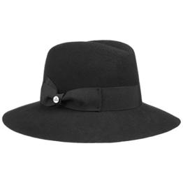Lierys Damenflapper Uni Wollfilzhut Damenhut für Damen Damenhut Schlapphut mit Ripsband Winter Sommer (One Size - schwarz) -