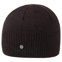Lierys Fine Rip Merino Beanie für Herren Pull On Herrenmütze mit Futter Herbst Winter (One Size - dunkelbraun) -