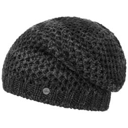 Lierys Honeycomb Beanie für Damen Herren Long Beanie Pull On mit Futter, Oversize, mit Futter, Oversize Herbst Winter (One Size - anthrazit) -