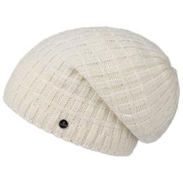Lierys Long Beanie Checker für Damen Herren Long Beanie Freizeitmütze Oversize, mit Futter, Oversize Herbst Winter (One Size - cremeweiß) -