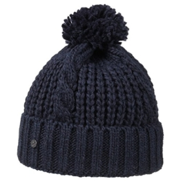 Lierys Longby Strickmütze mit Bommel Umschlagmütze für Damen Herren Kinder Damenmütze Strickmütze Herbst Winter (One Size - blau) -
