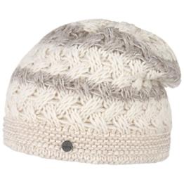 Lierys Mohair Stripes Strickmütze Wintermütze Wollmütze Beanie Damenmütze Skimütze by für Damen Strickmütze Wollmütze mit Futter, mit Futter Herbst Winter (One Size - cremeweiß) -