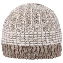 Lierys Mohair Twotone Strickmütze Beanie Wintermütze Damenmütze Herrenmütze Skimütze Mütze für Damen Herren Strickmütze Wintermütze mit Futter, mit Futter Herbst Winter (One Size - beige) -