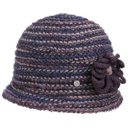 Lierys Multicolour Strickhut mit Blume Damenhut Hut Winterhut Wollhut Glockenhut Damenglocke für Damen Glockenhut Cloche Herbst Winter (One Size - lila) -