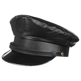Lierys Schildmütze Leder Kapitänsmütze für Herren Matrosenmütze Schmidtmütze mit Schirm, mit Futter, mit Lederband Winter Sommer (58 cm - schwarz) -