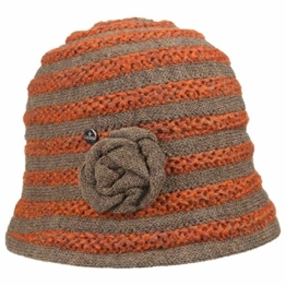 Lierys Streifen Strickhut Damenhut Wollhut für Damen Damenhut Winterhut Herbst Winter (One Size - orange) -
