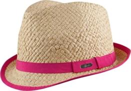 LISBOA HAT - moderner Trilby Hut aus knautschfähigen Papierstroh in 3 Farben - Top Qualität (natur/neon pink) -