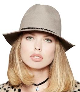 Loevenich Damen Filz Fedora Filz-Hut mit modischem Flechtband, Farbe: Beige -
