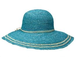 Loevenich GW-055 Damen Hut Flapper Schlapphut aus Stroh - türkis -