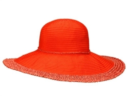 Loevenich SZ-12BRT Damen Hut Flapper Schlapphut aus Stroh - orange One Size -