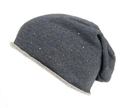 """Long Beanie """"Urban"""" von Ella Jonte mit kleinen Profilnieten in grau oder schwarz - die hippe Trendsettermütze im Oversize-Look - kombiniert perfekt Style und Komfort -"""