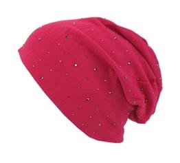 Long Beanie von Ella Jonte im hippen Oversize-Look pink mit Glitzer Nieten Baumwolle -
