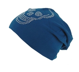 Long Beanie von Ella Jonte im hippen Oversize-Look blau mit Strass Totenkopf Baumwolle -