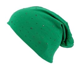 Long Beanie von Ella Jonte im hippen Oversize-Look grün mit silber geschwärzten Nieten Baumwolle -