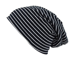 Long Beanie von Ella Jonte im hippen Oversize-Look schwarz weiß gestreift -
