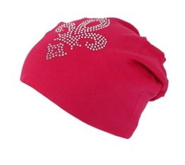 Long Beanie von Ella Jonte im hippen Oversize-Look pink mit Strass französiche Lilie Baumwolle -