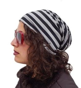 """Long Beanie von Ella Jonte """"Stripe"""" in grau und schwarz- im Oversize-Look auch als lässige Indoor-Mütze zu tragen -"""