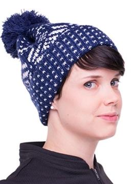 Lucia Strickmütze mit Bommel mit Nordic Beanie Strickmütze Mütze Wintermütze Beanie Herren Damen bis 58 cm Kopfumfang zweifarbig (navy/white) -
