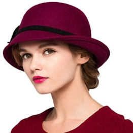 Maitose™ Damen Wollfilz Melone Wine Red -