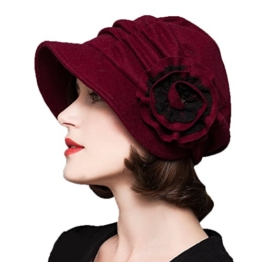 Maitose™ Frauen dekorative Blumen Wool Beret Red -