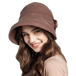 Maitose™ Frauen Dekorative Bow Wool Bucket Hat Bräune -