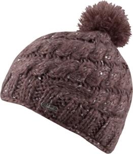 Marie Hat Damen Bommelmütze mit Pailletten und Innenfleece - Mütze Wintermütze (braun) -