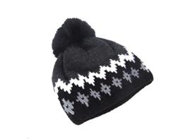 Mc Burn Damen Strickmütze mit Muster und Fellbommel 838070-7 schwarz-weiß-grau -