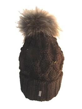 Mc-Burn Damen Umschlagmütze Diamonds mit Steinchen und Finnracoonbommel, gefüttert 86913-7 schwarz -