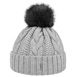 McBURN Cable Knit Umschlagmütze Bommelmütze Mütze Pudelmütze Strickmütze für Damen Strickmütze Wintermütze mit Umschlag, mit Futter, mit Umschlag, mit Futter Herbst Winter (One Size - grau) -