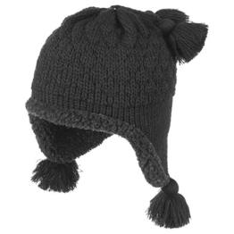 McBURN Cairina Lapplandmütze für Damen Wollmütze Damenmütze mit Ohrenklappen, mit Futter, mit Ohrenklappen, mit Futter Herbst Winter (One Size - schwarz) -