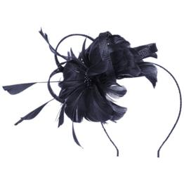 McBURN Cila Sinamay Fascinator Haarschmuck Haarreifen Kopfschmuck Brautschmuck Brauthut für Damen Kopfschmuck Anlasshut Winter Sommer (One Size - blau) -