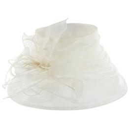 McBURN Fatima Anlasshut für Damen Flapper Damenhut Frühjahr Sommer Herbst Winter (One Size - cremeweiß) -