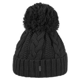McBURN Giant Bommelmütze für Damen Bommelmützen Wintermütze mit Umschlag, mit Futter, mit Umschlag, mit Futter Herbst Winter (One Size - schwarz) -