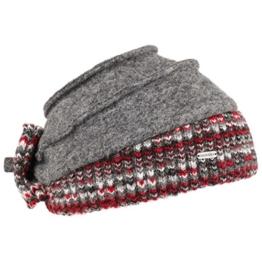 McBURN Jolate Walkmütze mit Strickrand Mütze Damenmütze Wintermütze Strickmütze für Damen Wollmütze Wintermütze Herbst Winter (One Size - grau-rot) -
