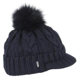 McBURN Killarney Strickcap Mütze für Damen Echtfell Blaufuchs mit Futter, mit Futter Herbst Winter (One Size - blau) -