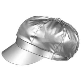 McBURN Lackregenkappe Ballonmütze für Damen Lackmütze Ballonmütze mit Schirm, mit Futter Frühjahr Sommer (One Size - silber) -