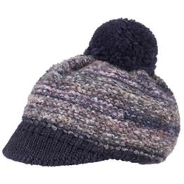 McBURN Limana Bommelmütze mit Schirm Wintermütze Damenmütze Mütze Bommel Strickmütze für Damen Beanie Strickmütze mit Schirm, mit Schirm Herbst Winter (One Size - blau) -