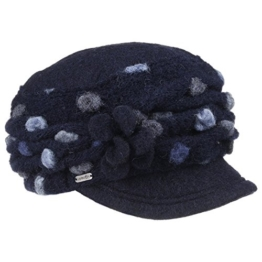 McBURN Punti Schirmkappe Damencap Lana Cotta für Damen Walkmütze Wintercap mit Futter Herbst Winter (One Size - blau) -