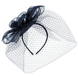 McBURN Sinamay Fascinator mit Schleier Haarschmuck Anlasshut Haarreif für Damen Anlasshut Winter Sommer (One Size - blau) -
