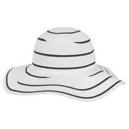 McBURN Stripe Damenflapper für Damen Strohhut Urlaubshut Frühjahr Sommer (One Size - schwarz) -