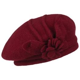 McBURN Wollbaskenmütze mit Blume für Damen Damenbaske Beret Herbst Winter (One Size - bordeaux) -