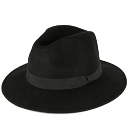 Men's Ladies Fedora Hat Plain Handmade - Fine Felt - Grosgrain Bow Style Band - Black (55/S) -
