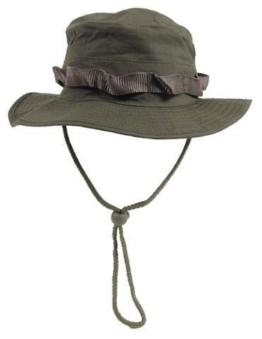 MFH Junglehat Boonie Hat Oliv Australian Buschhut Tropenhut Wüstenhut mit Kinnband S-XL (L) -